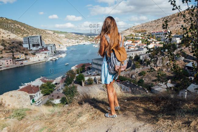 Tourist looks over Sevastopol, Crimean peninsula
