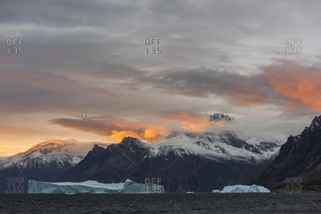 Sunset over Scoresby Sound in Greenland