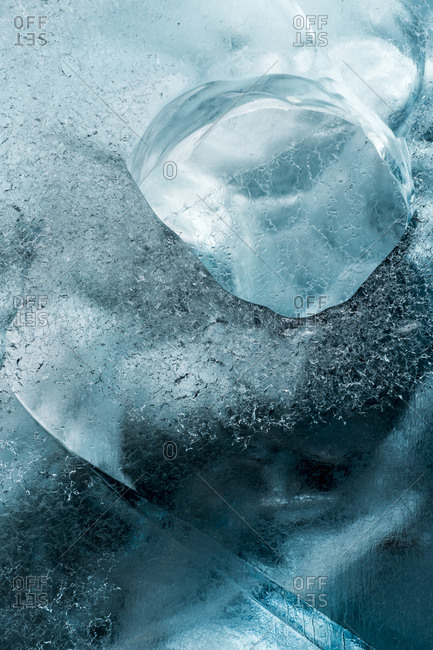 Close up of ice formations in Scoresby Sound in Greenland
