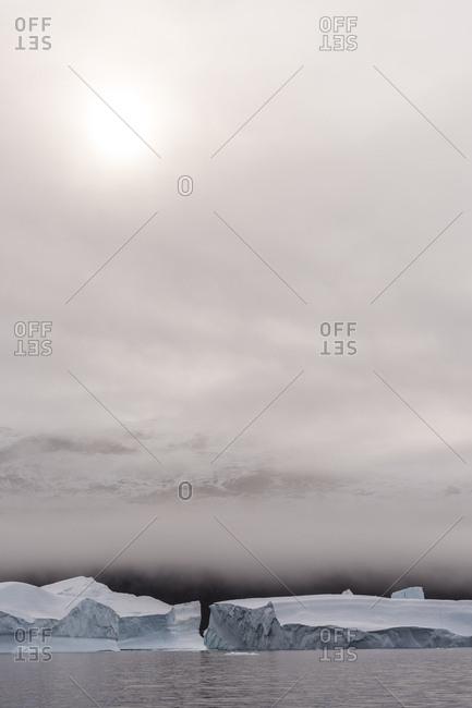 Fog over icebergs in Scoresby Sound, Greenland