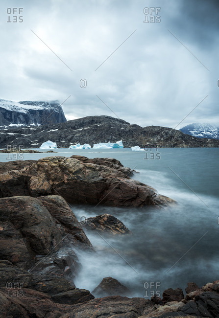 Misty waters in Greenland in the Scoresby Sound