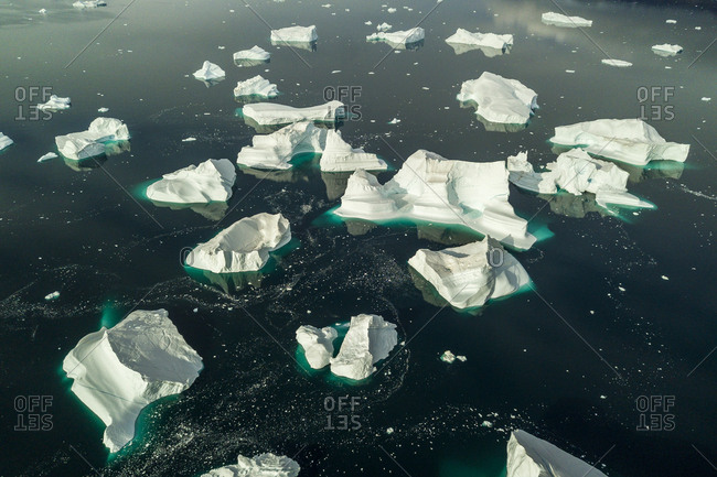 Elevated view of icebergs in Greenland in the Scoresby Sound