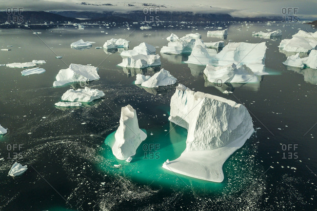 Icebergs in Greenland in the Scoresby Sound