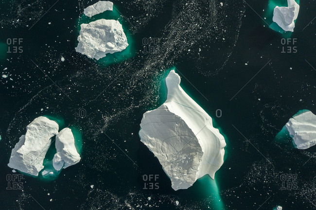 Aerial view of icebergs in the Scoresby Sound in Greenland
