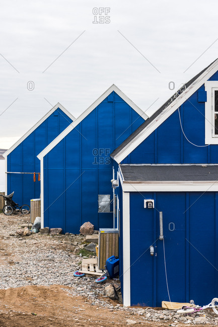 Blue cottages in a village in Greenland
