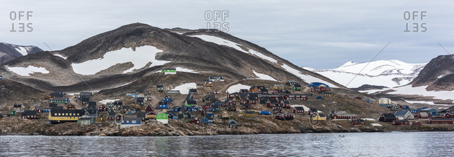 Hillside village with colorful homes in Greenland