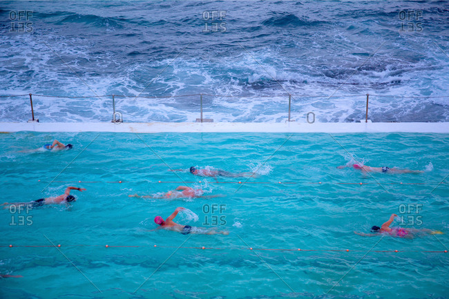 Early morning swimmers at Bondi beach sea pool