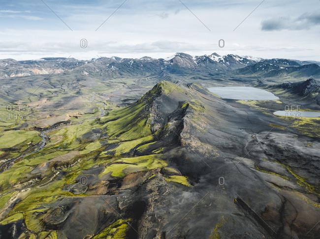 Scenic view above Icelandic mountain range