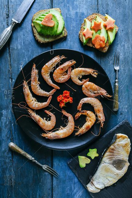 Seafood dinner served on table