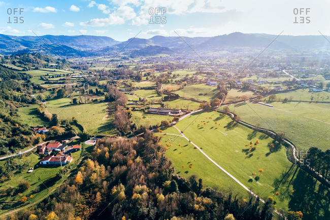 Aerial perspective of a rural area in Asturias, northern Spain