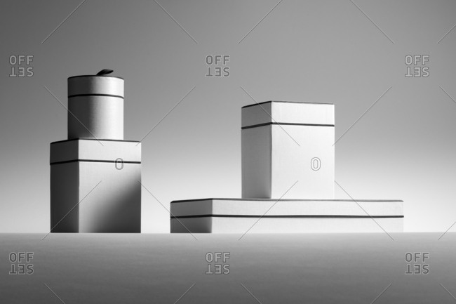 Stack of monochromatic gift boxes