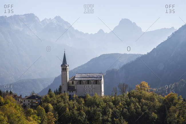 Italy, Dolomites - November 1, 2017: High angle view of church against mountains