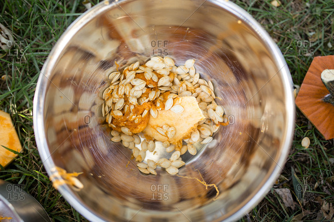 Overhead view of pumpkin seeds in bowl on field