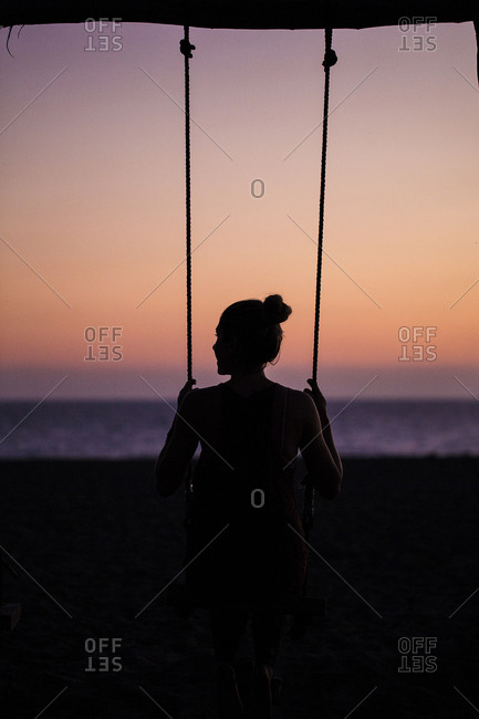 Womans view in swinging