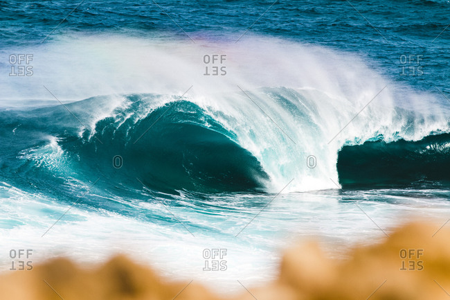 Scenic view of waves splashing at Canary Islands beach