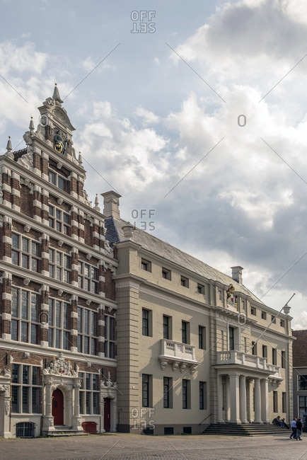 Deventer, Netherlands - September 4, 2017: Old architecture in dutch city Deventer under cloudy sky