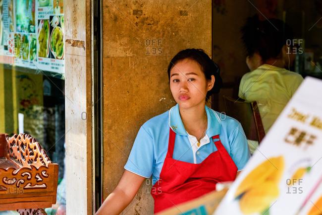 Bangkok, Thailand - September 29, 2017: Shopkeeper in Chinatown