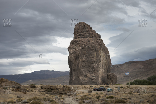 Nature scenery with Piedra Parada rock formation, Chubut Province, Patagonia, Argentina