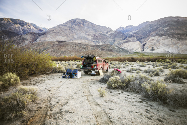 Truck camping in desert of Saline Valley, Death Valley National Park, California, USA