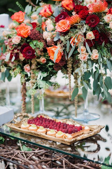 Tarts served at wedding reception