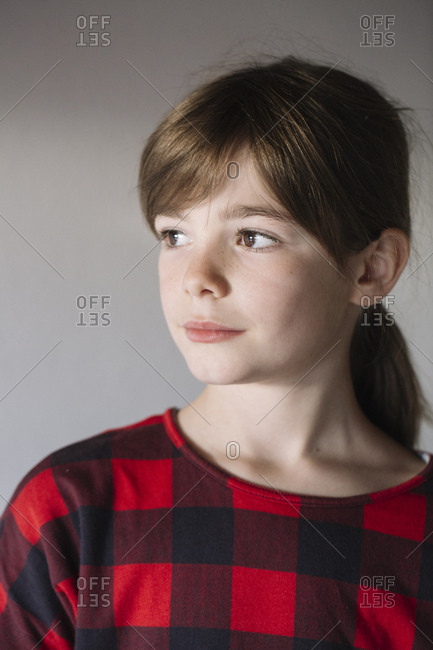 Portrait of girl with brown hair