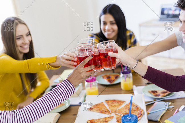 Group of young women at home clinking glasses