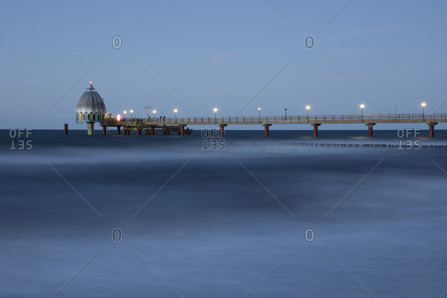 Germany- Zingst- view to submarine gondola and boardwalk- blue hour