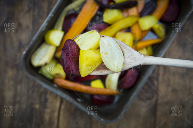 Oven winter vegetables- carrot- beetroot- potato and parsnip in roasting tray- on wooden spoon