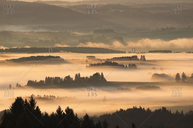 Germany- Bavaria- Upper Bavaria- Allgaeu- Pfaffenwinkel- View from Auerberg near Bernbeuren- morning fog over Lech Valley