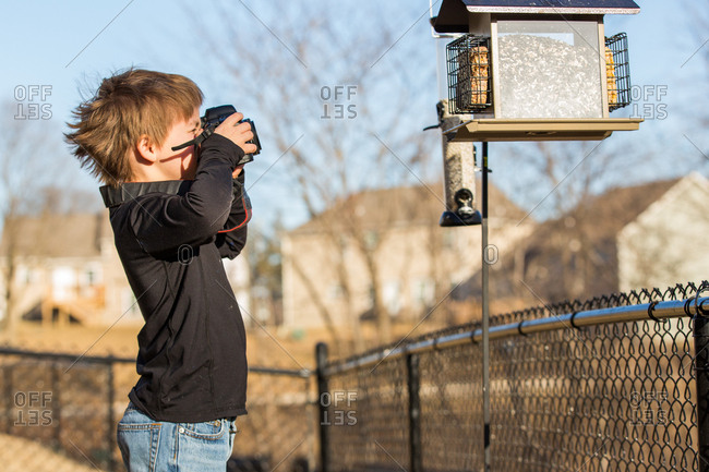 Little boy taking pictures of bird feeder