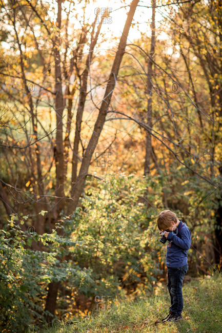 Boy taking pictures in the woods