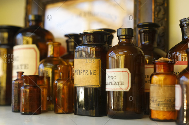 New York City, New York, USA - December 29, 2017: Antique medicine bottles