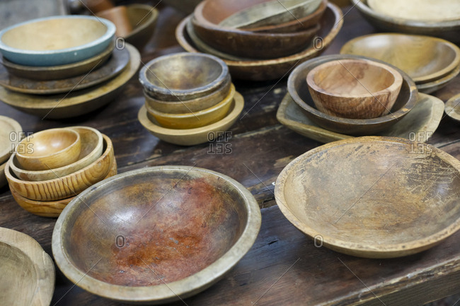 Collection of vintage wooden bowls