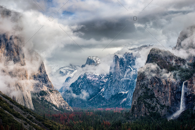 View of Yosemite Valley on a cloudy winter morning