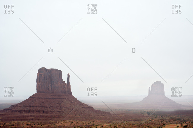 Monument Valley with fog
