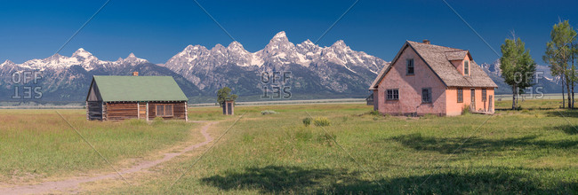 Mormon ranch and the Grand Teton range, panorama