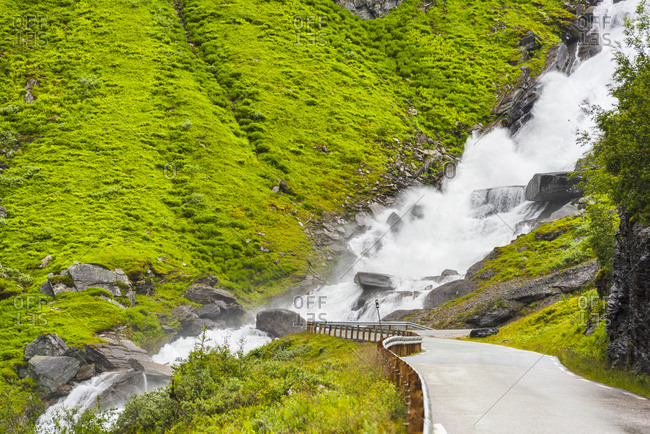 Norway- Hedmark- Tufsindalen Valley- Road- Waterfall