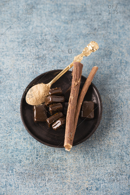 Licorice candies and Liquorice root and powder