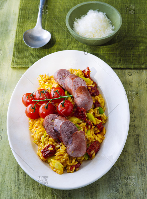 Risotto made with saffron and sausage