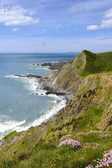 Great Britain- England- Devon- Hartland- Hartland Quay- Rocky coast- Lundy Island