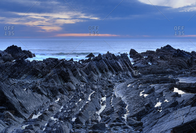 Great Britain- England- Devon- Hartland- Hartland Quay- Screda Point- blue hour