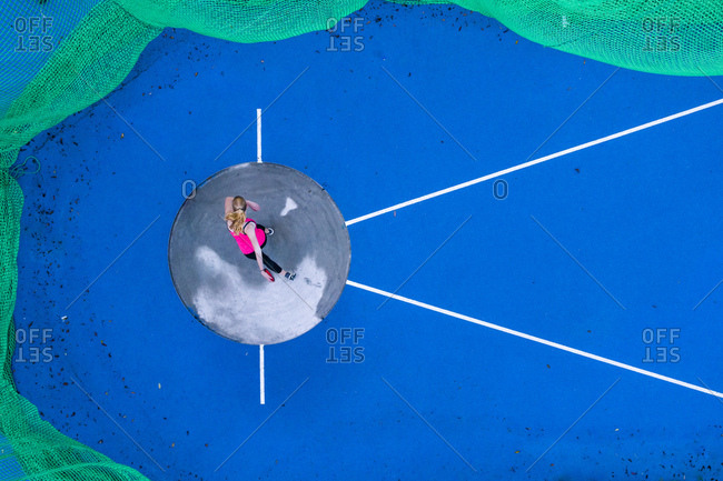 Top view of female discus thrower