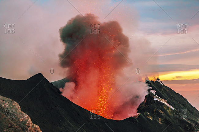 Italy- Aeolian Islands- Stromboli- volcanic eruption- lava bombs