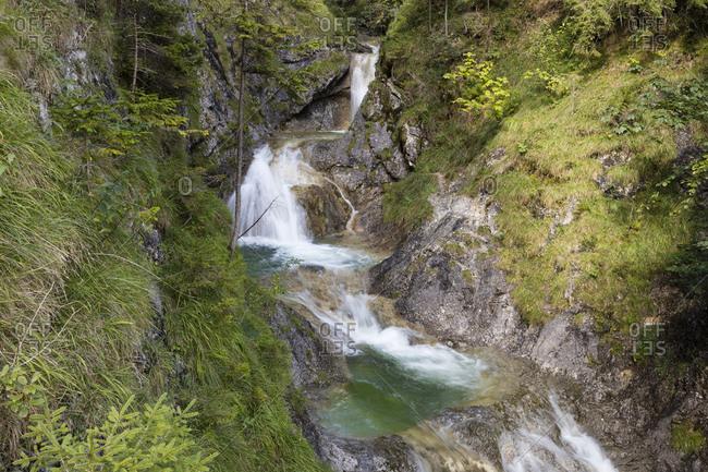 Germany- Bavaria- Upper Bavaria- Bayrischzell- Waterfall Gruene Gumpe