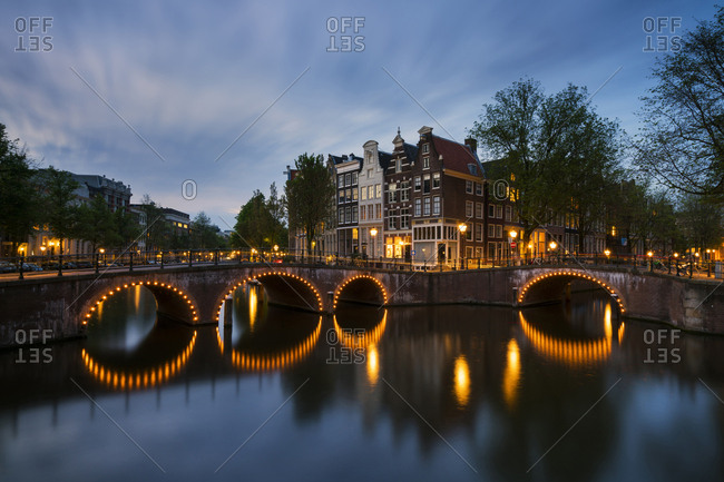 Netherlands- Amsterdam- Amsterdam- Canal view at dawn