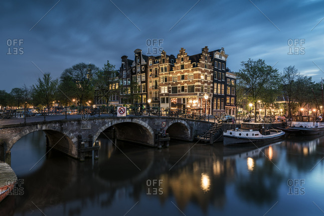 Netherlands- Amsterdam- Amsterdam- Canal view at dusk