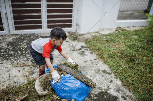 Boy putting yard waste into a blue bag