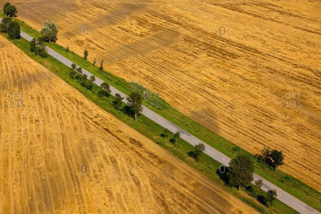 Aerial view of farmland, Slavonia, Croatia