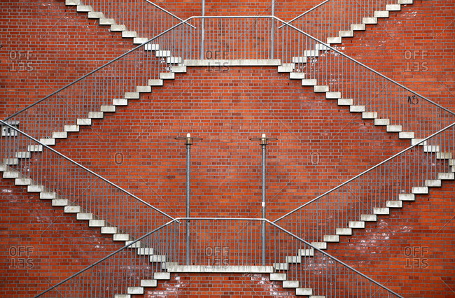 Symmetric stairs on a brick wall, Berlin, Germany, Europe