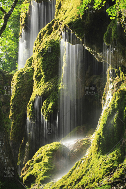 Schleierfalle, waterfalls at Ammer covered in moss, sunlight, Ammergau Alps, Bavaria, Germany, Europe